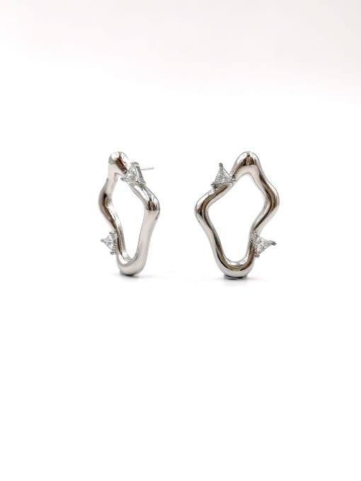 Silver Brass Cubic Zirconia Clear Irregular Trend Stud Earring