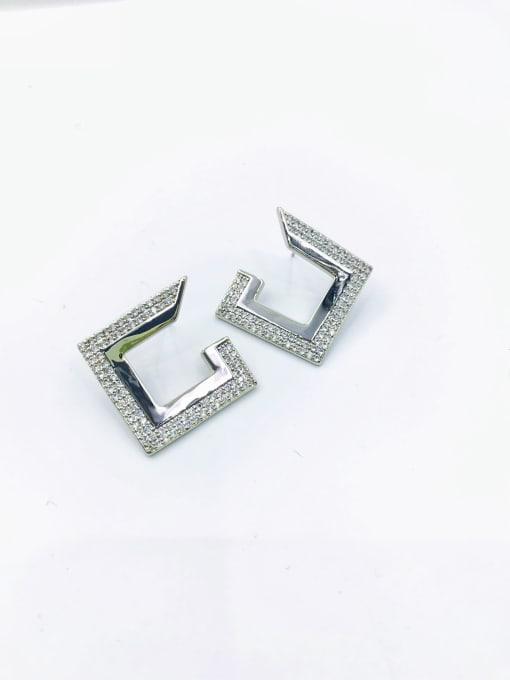 VIENNOIS Brass Cubic Zirconia White Irregular Trend Stud Earring