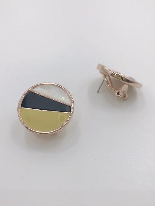 rOSE GOLD+WHITE+BLACK+LIGHT GREEN Zinc Alloy Shell White Enamel Round Minimalist Clip Earring