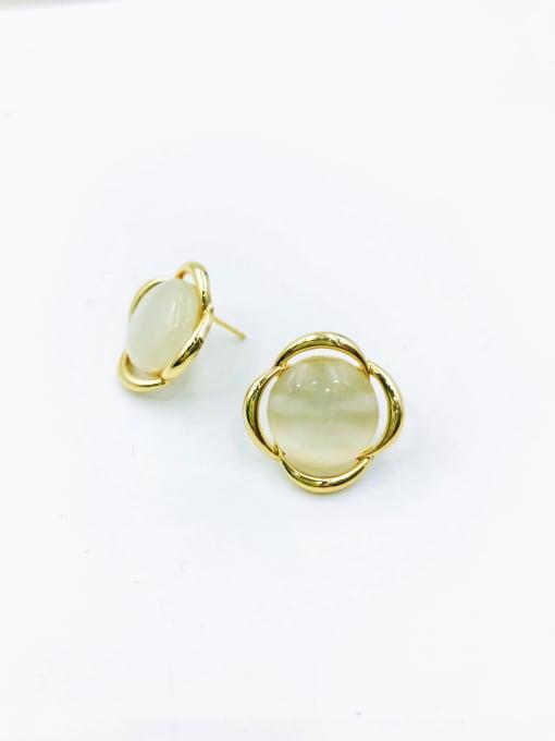 Gold Zinc Alloy Cats Eye White Flower Minimalist Stud Earring