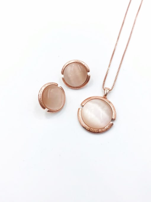 VIENNOIS Classic Round Zinc Alloy Cats Eye White Earring and Necklace Set 0