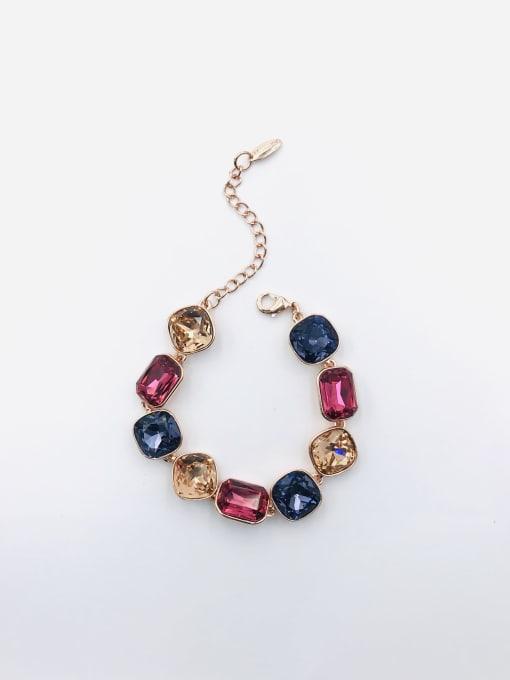 ROSE GOLD+PURPLE+RED+CHAMPAGNE Zinc Alloy Glass Stone Multi Color Geometric Trend Bracelet