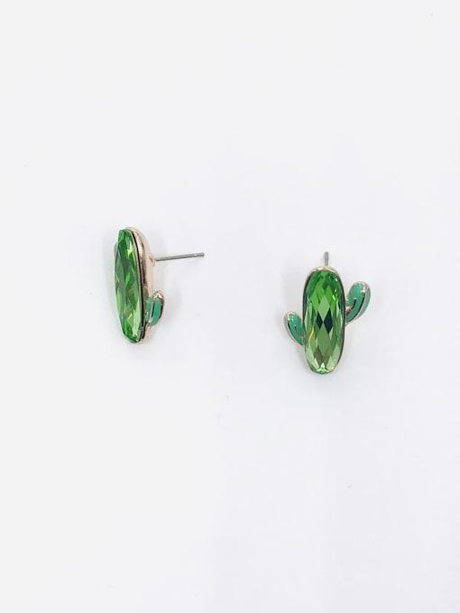 VIENNOIS Zinc Alloy Glass Stone Green Enamel Cactus Cute Stud Earring