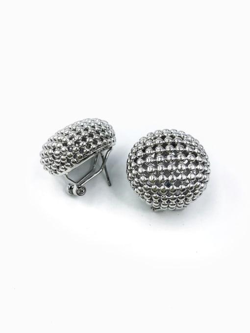 Silver Brass Round Minimalist Clip Earring