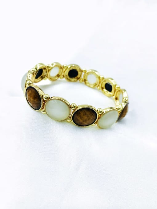 gold+brown resin+white cat eye stone Zinc Alloy Resin White Round Trend Band Bangle