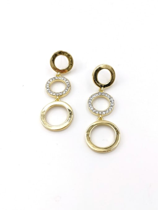 Gold Zinc Alloy Rhinestone Clear Round Classic Drop Earring
