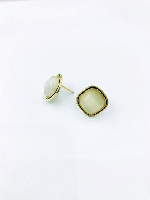 Gold Zinc Alloy Cats Eye White Square Minimalist Stud Earring