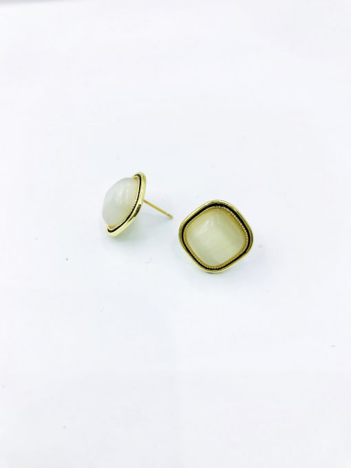 VIENNOIS Zinc Alloy Cats Eye White Square Minimalist Stud Earring 0