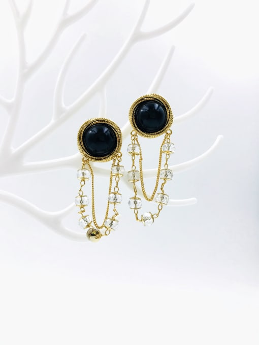 Black Brass Crystal White Plastic Tassel Trend Drop Earring