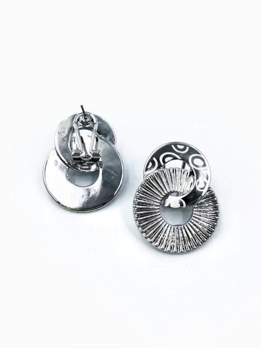 Silver Zinc Alloy Geometric Statement Clip Earring