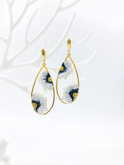 gold+black&white enamel Brass Enamel Water Drop Statement Drop Earring