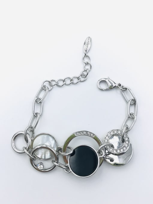 VIENNOIS Zinc Alloy Shell White Acrylic Round Classic Bracelet 0