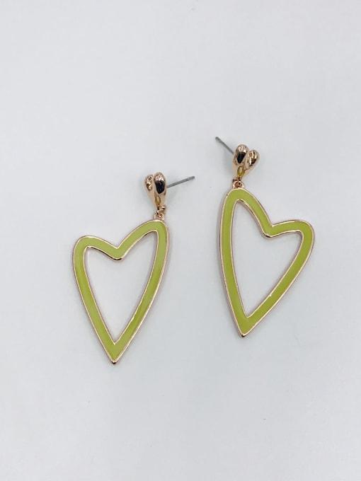 ROSE GOLD+GREEN Zinc Alloy Enamel Heart Minimalist Drop Earring