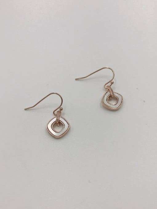 VIENNOIS Brass Shell White Geometric Minimalist Hook Earring 0