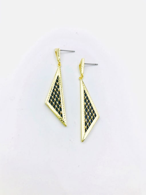 Gold Brass Imitation Pearl White Acrylic Triangle Classic Drop Earring