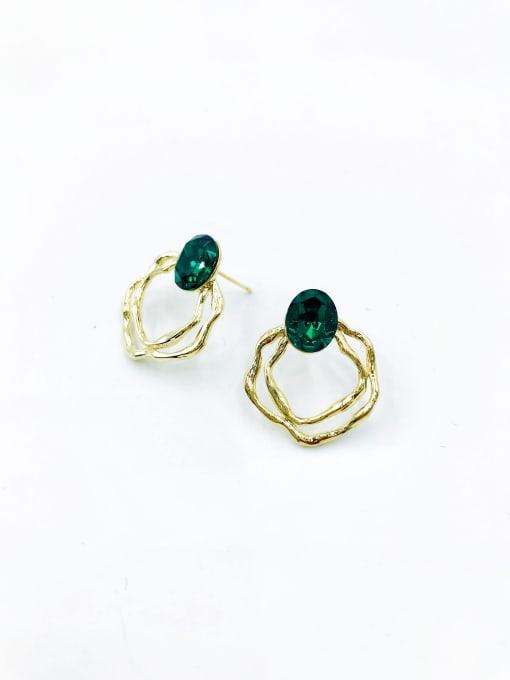 VIENNOIS Brass Glass Stone Green Irregular Trend Stud Earring 0