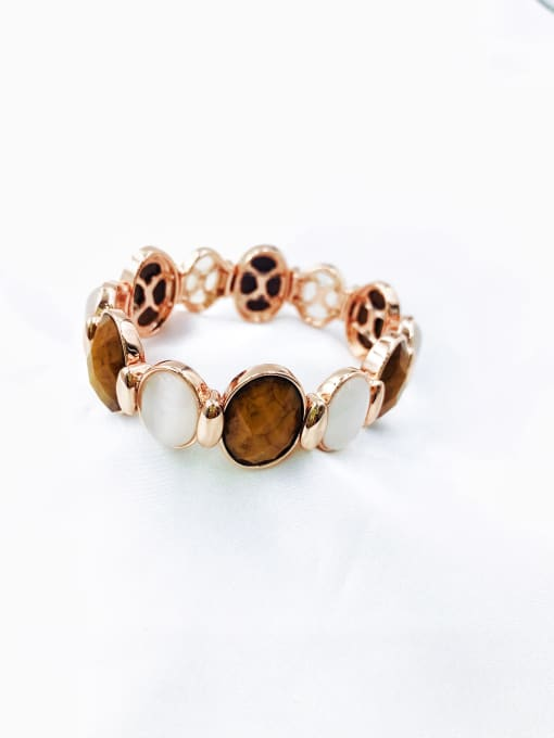 rose gold+brown resin+white cat eye Zinc Alloy Resin Brown Oval Trend Band Bangle