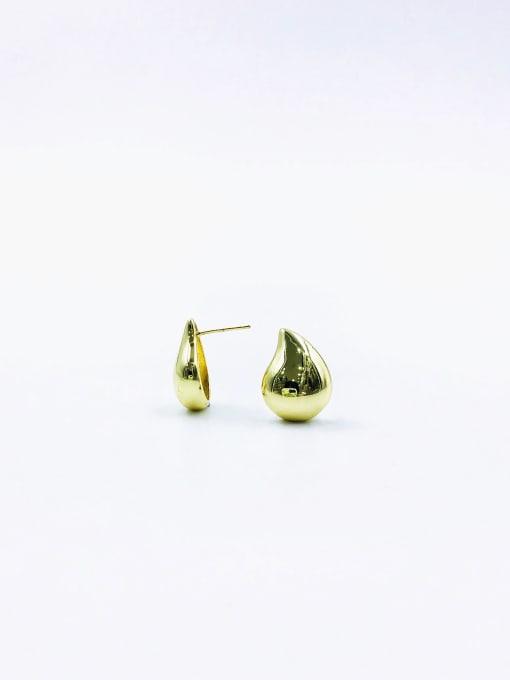 Gold Brass Water Drop Minimalist Stud Earring