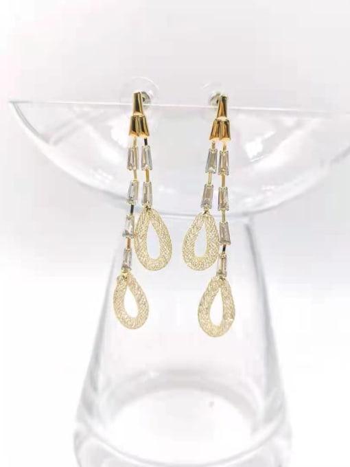 gold+clear stone Brass Cubic Zirconia Red Tassel Trend Drop Earring