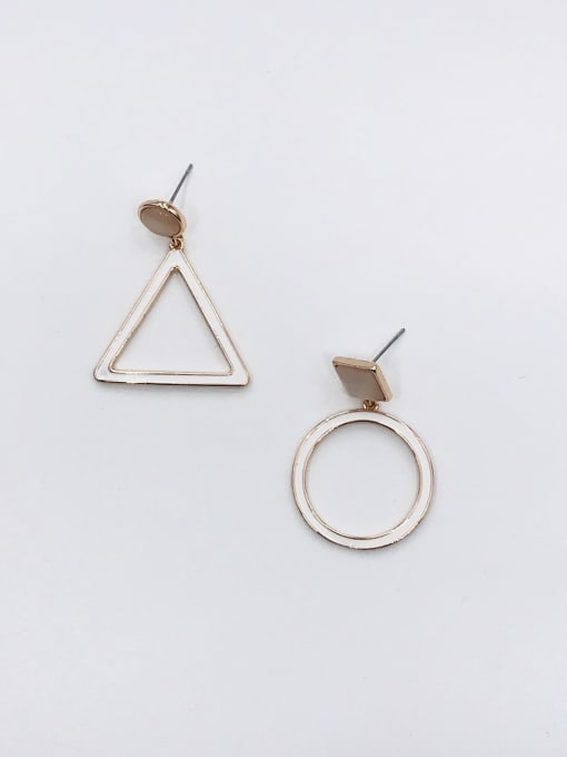 ROSE GOLD+WHITE Zinc Alloy Cats Eye White Enamel Triangle Minimalist Drop Earring