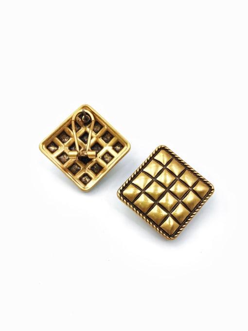 antique gold Zinc Alloy Square Classic Clip Earring
