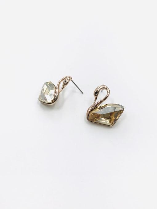 Gold Zinc Alloy Swarovski Zirconia Clear Swan Trend Stud Earring