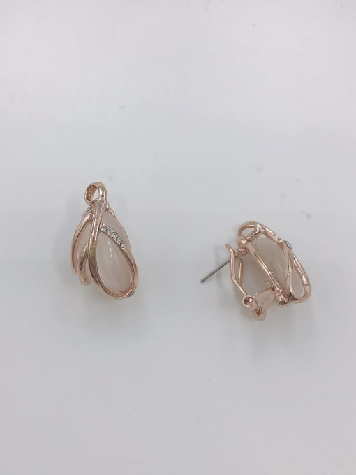 VIENNOIS Zinc Alloy Cats Eye White Leaf Trend Clip Earring 0