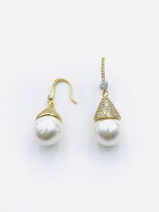 Gold Brass Imitation Pearl White Water Drop Dainty Hook Earring