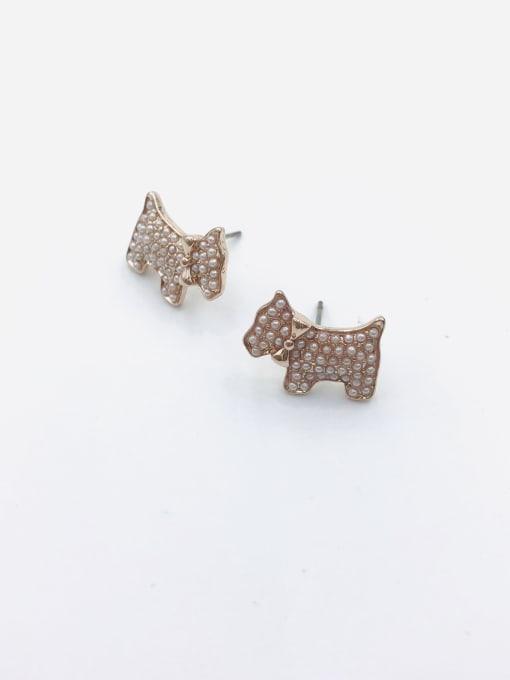 VIENNOIS Zinc Alloy Imitation Pearl White Dog Dainty Stud Earring 0