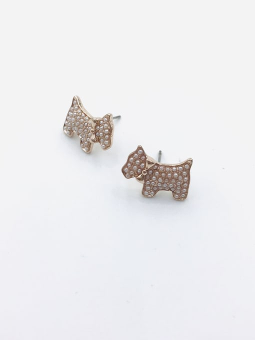VIENNOIS Zinc Alloy Imitation Pearl White Dog Dainty Stud Earring
