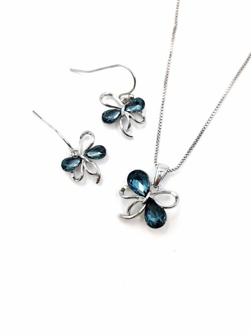 Silver Cute Bowknot Zinc Alloy Glass Stone Blue Earring and Necklace Set