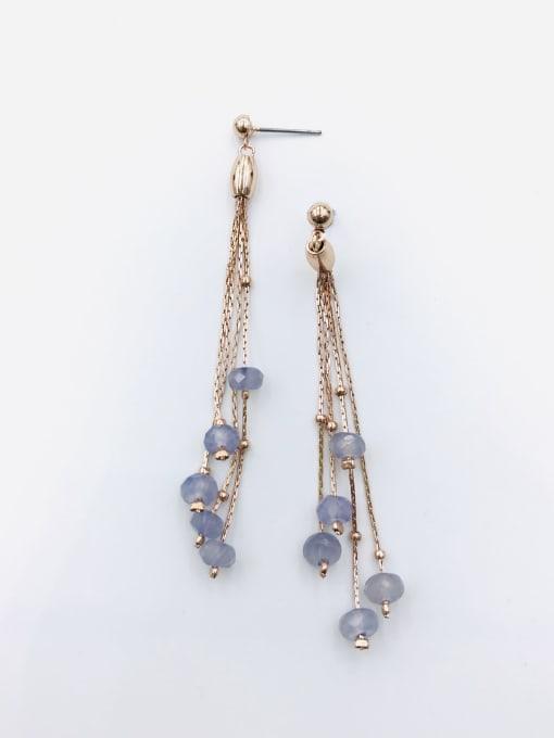VIENNOIS Zinc Alloy Crystal Purple Tassel Trend Drop Earring 1
