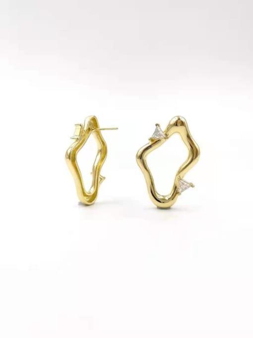 Gold Brass Cubic Zirconia Clear Irregular Trend Stud Earring