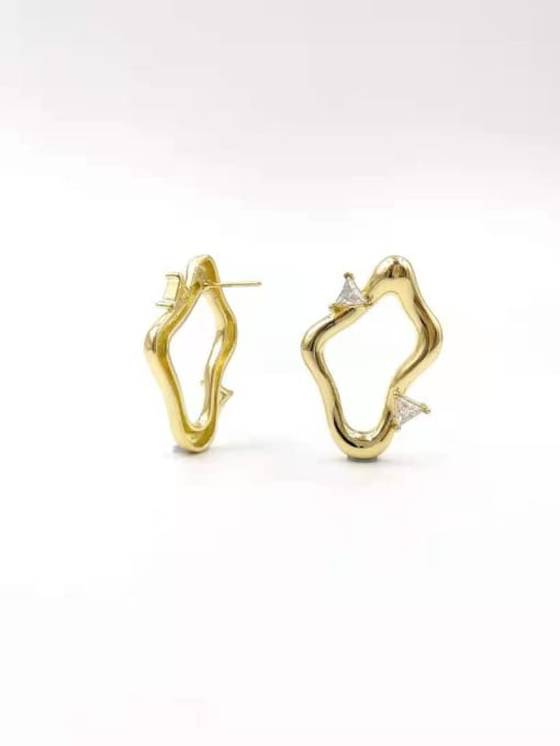 VIENNOIS Brass Cubic Zirconia Clear Irregular Trend Stud Earring