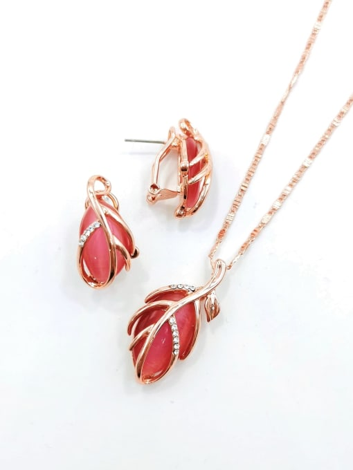 Red Trend Leaf Zinc Alloy Cats Eye White Earring and Necklace Set