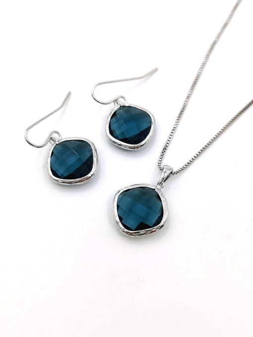 Blue Minimalist Square Brass Glass Stone Blue Earring and Necklace Set
