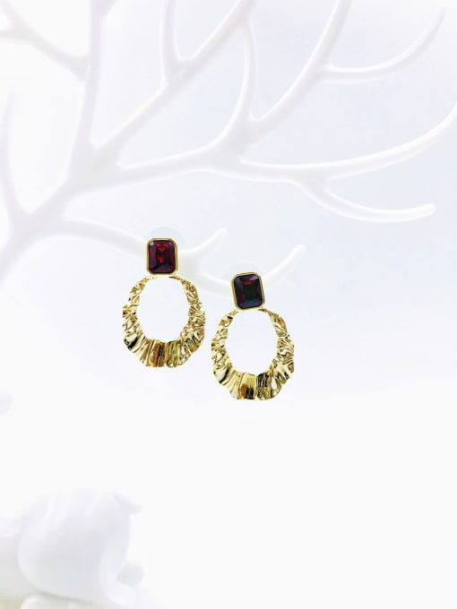 VIENNOIS Brass Cubic Zirconia Red Irregular Trend Drop Earring 0