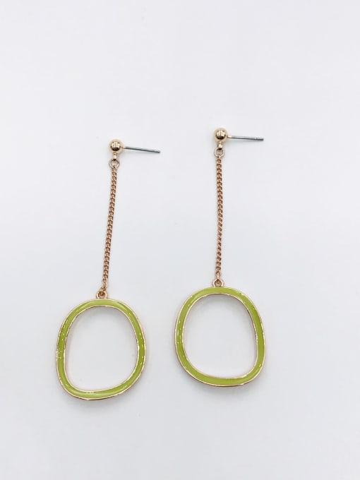 ROSE GOLD+GREEN Zinc Alloy Enamel Geometric Minimalist Drop Earring