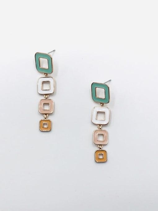 ROSE GOLD+BLUE+WHITE+PINK+ORANGE Zinc Alloy Enamel Geometric Minimalist Drop Earring