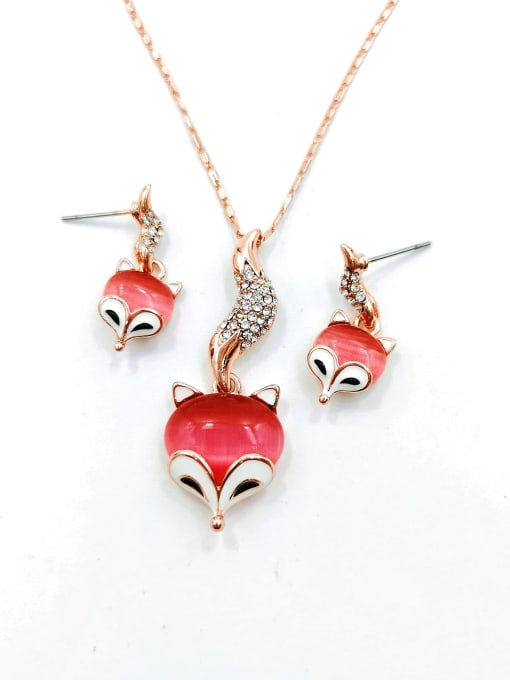 VIENNOIS Trend Fox Zinc Alloy Cats Eye Red Enamel Earring and Necklace Set 0