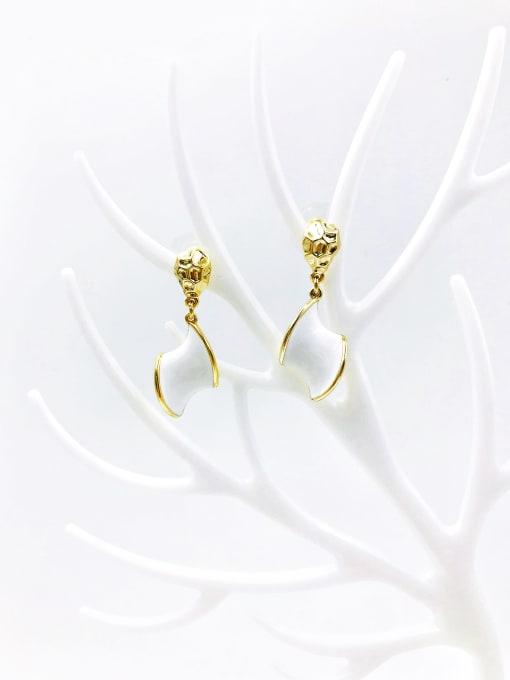 White Zinc Alloy Enamel Irregular Minimalist Drop Earring