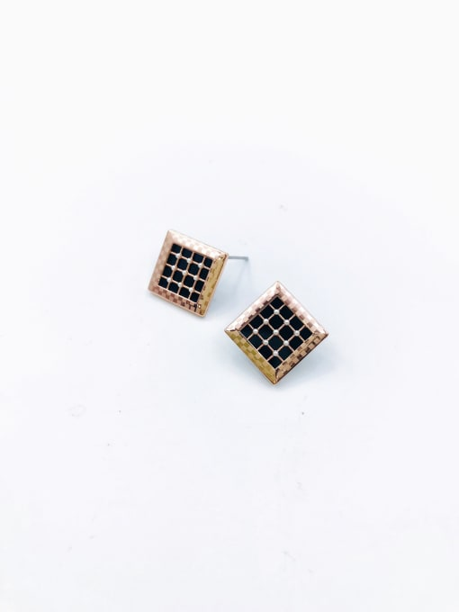 Rose Brass Imitation Pearl White Acrylic Square Dainty Stud Earring