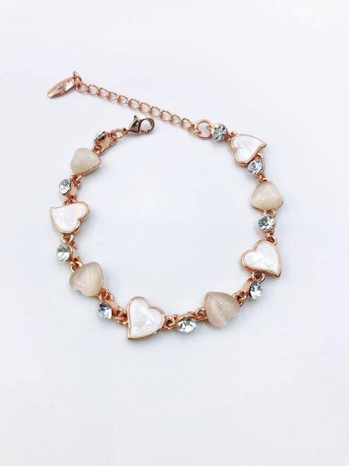 VIENNOIS Zinc Alloy Shell White Heart Dainty Bracelet 0