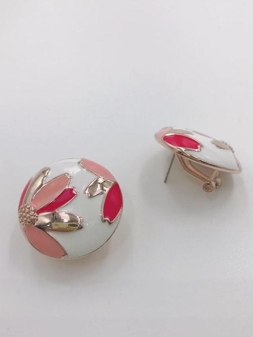 VIENNOIS Zinc Alloy Enamel Round Trend Clip Earring 0