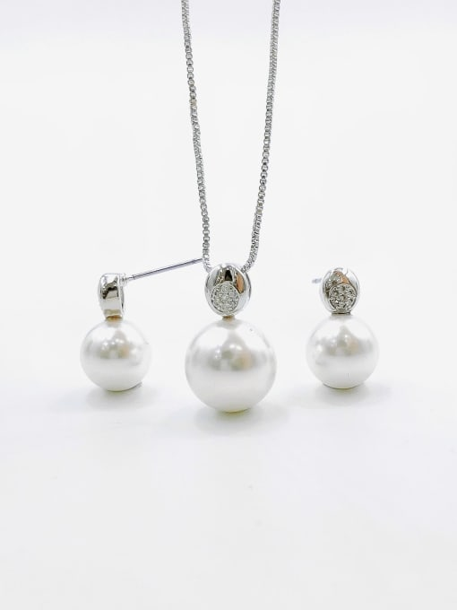 VIENNOIS Minimalist Ball Brass Imitation Pearl White Earring and Necklace Set 0