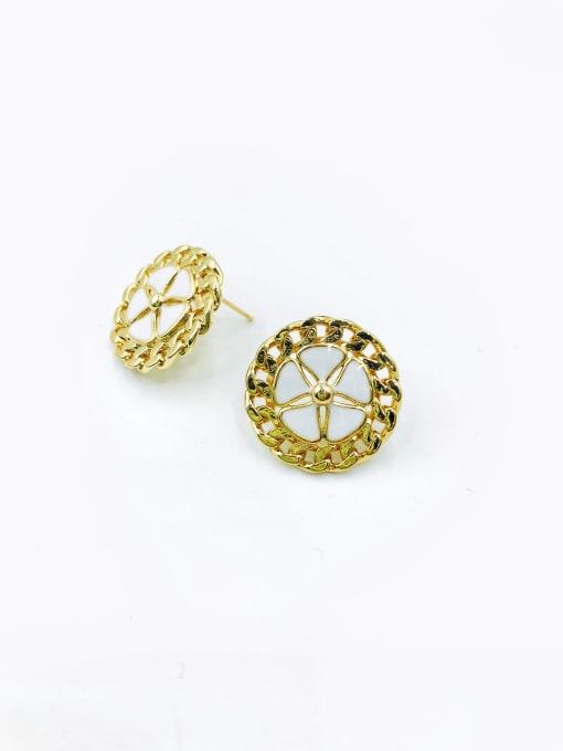 gold+white enamel Brass Enamel Star Vintage Stud Earring