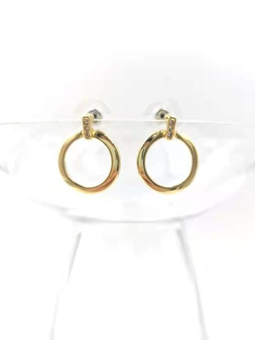 VIENNOIS Zinc Alloy Rhinestone Clear Round Minimalist Stud Earring 0