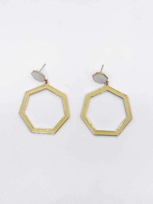 ROSE GOLD+WHITE+GREEN Zinc Alloy Enamel Geometric Minimalist Drop Earring