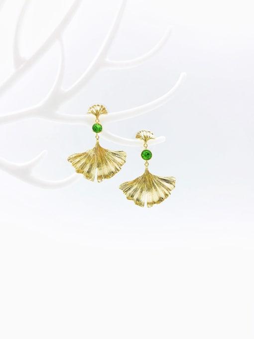 VIENNOIS Brass Rhinestone Green Leaf Trend Drop Earring 0