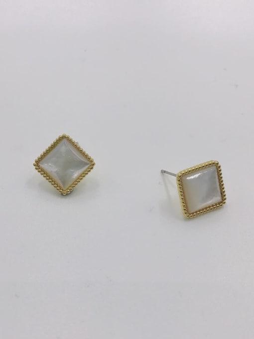 VIENNOIS Zinc Alloy Shell White Square Minimalist Stud Earring 0